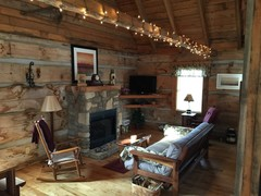 Bears Den Living w/ Gas Log Fireplace